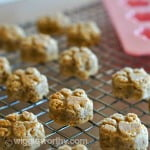 Banana and almond butter dog treats cooling on wire rack
