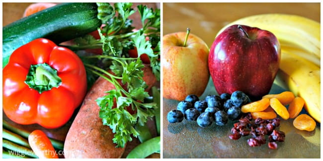 Fruits and vegetables used when making homemade dog treats