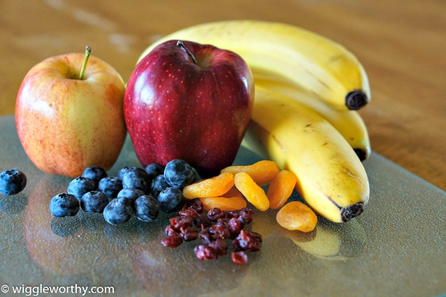 Some of the best fruit for dog treat recipes. Apples, bananas, blueberries, dried cranberries, dried apricots