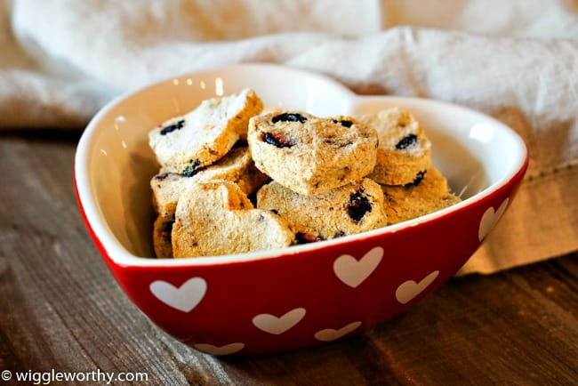 Heart shaped bowl containing banana pumpkin and blueberry homemade dog treats