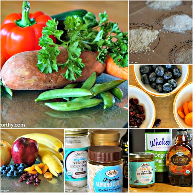 Homemade dog treat ingredients. Collage of fresh vegetables and fruits, flours, fats and sweeteners