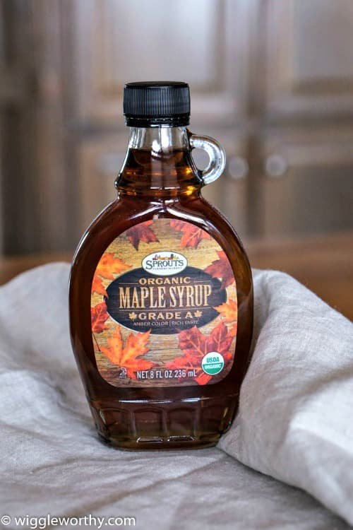 Bottle of organic Maple Syrup