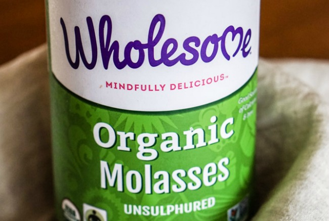 Bottle of organic, unsulphured molasses