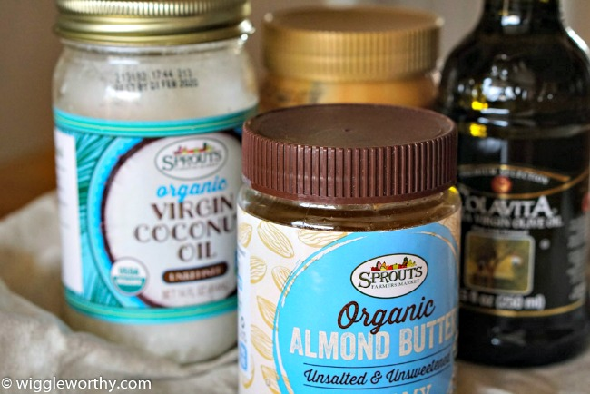 Oils and fats for dog treat recipes. Virgin Coconut Oil, Almond Butter, extra-virgin Olive Oil