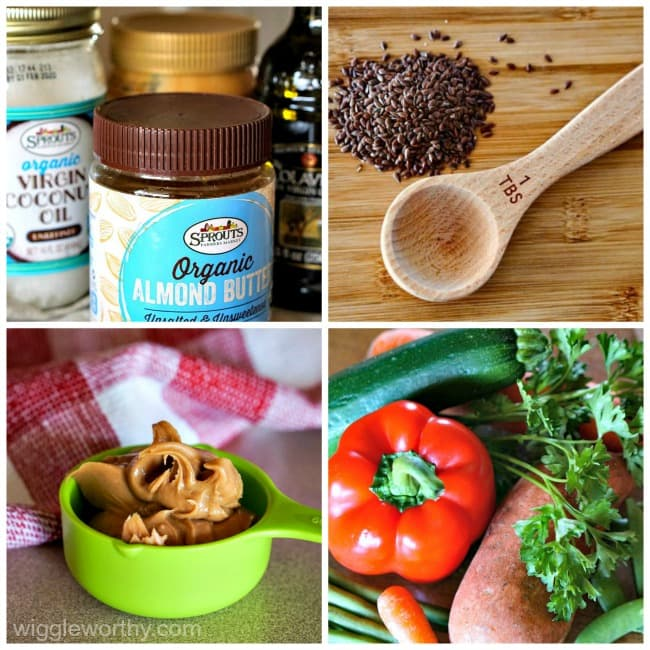 Collage of optional ingredients for versatile dog treat recipe