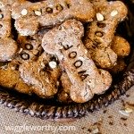 Multi grain peanut butter dog treats in woven bowl