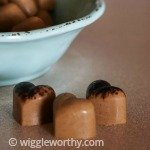 Peanut butter and carob frozen dog treats in bowl and on table